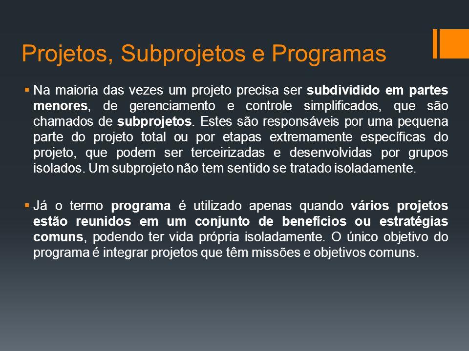 Projetos, Subprojetos e Programas