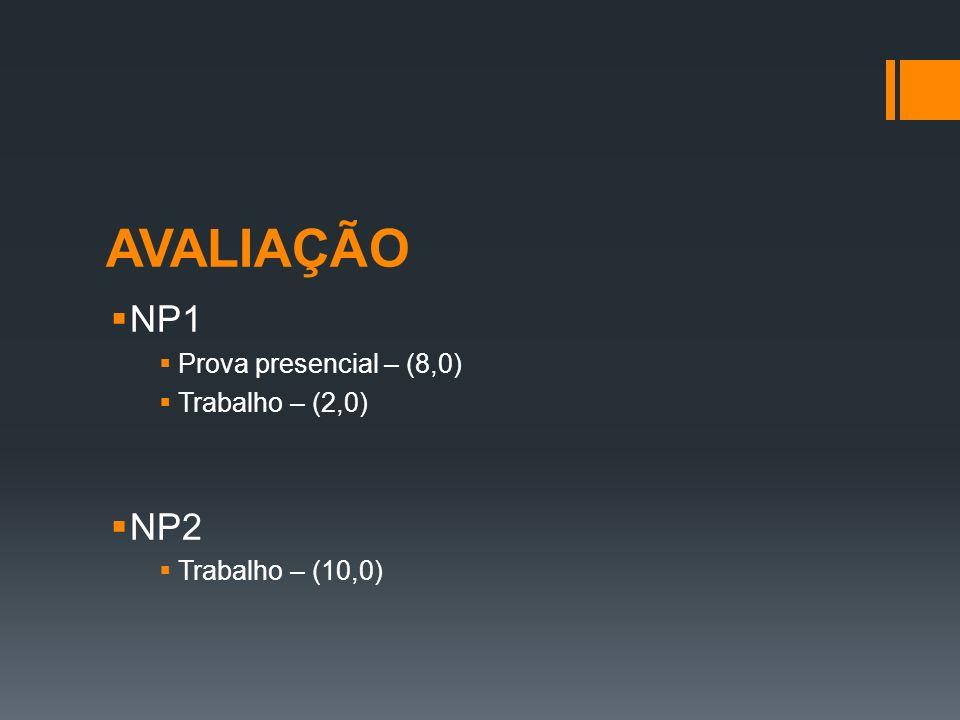 AVALIAÇÃO NP1 NP2 Prova presencial – (8,0) Trabalho – (2,0)