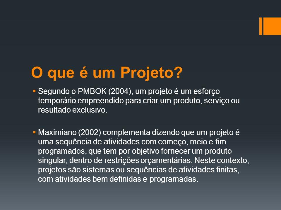 O que é um Projeto Segundo o PMBOK (2004), um projeto é um esforço temporário empreendido para criar um produto, serviço ou resultado exclusivo.