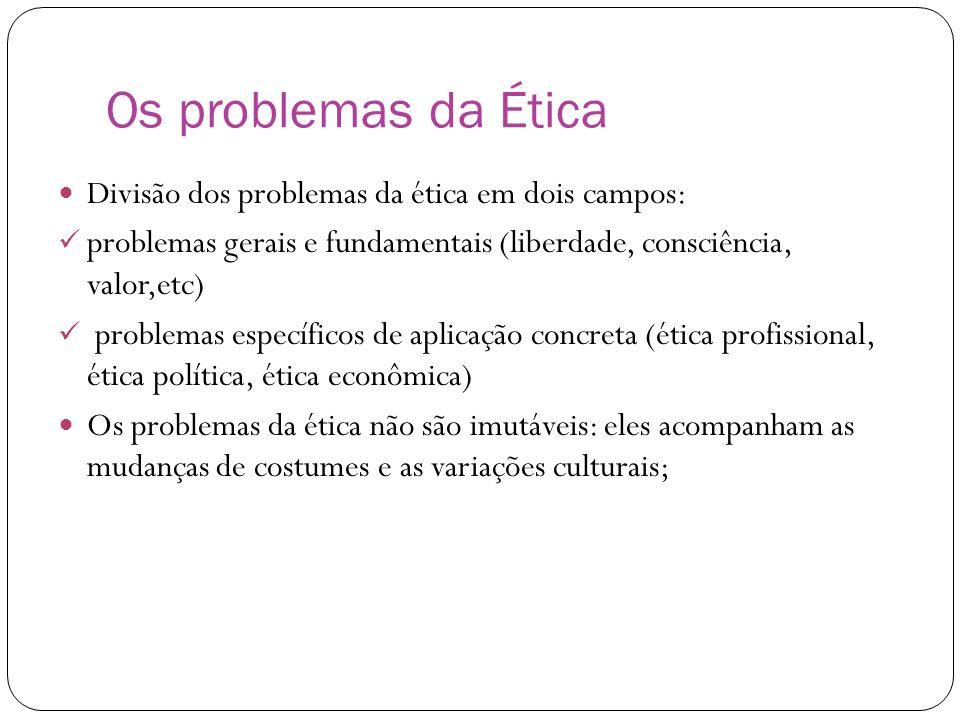 Os problemas da Ética Divisão dos problemas da ética em dois campos: