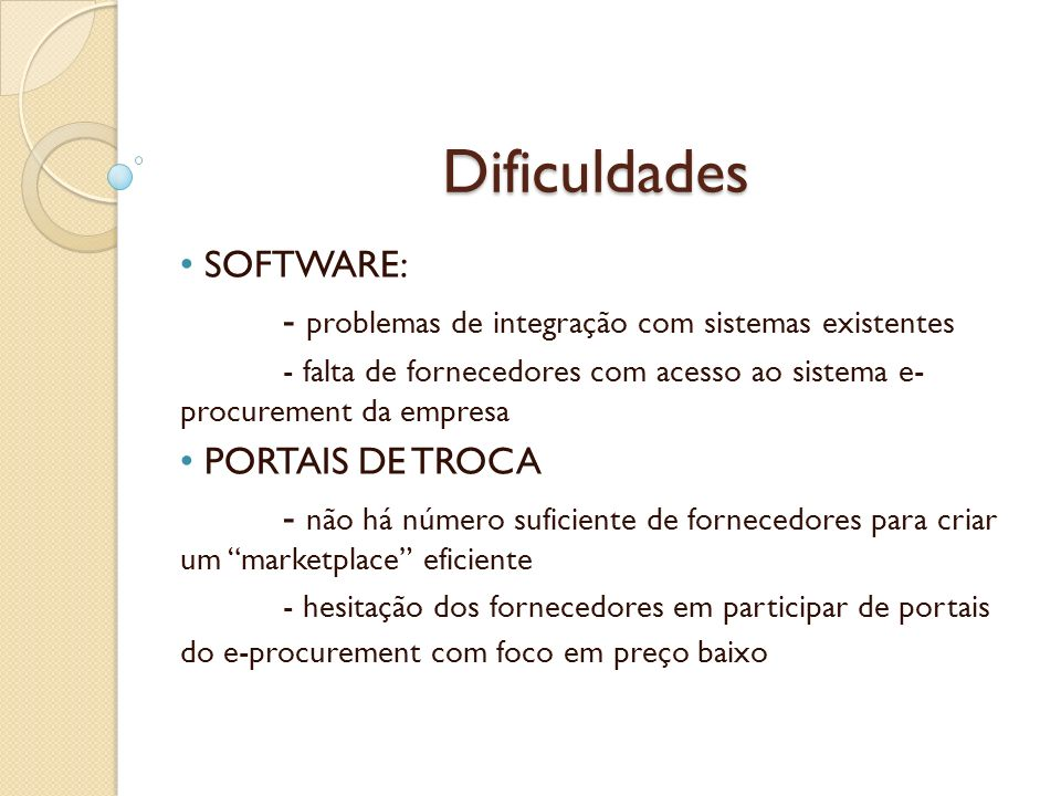Dificuldades SOFTWARE:
