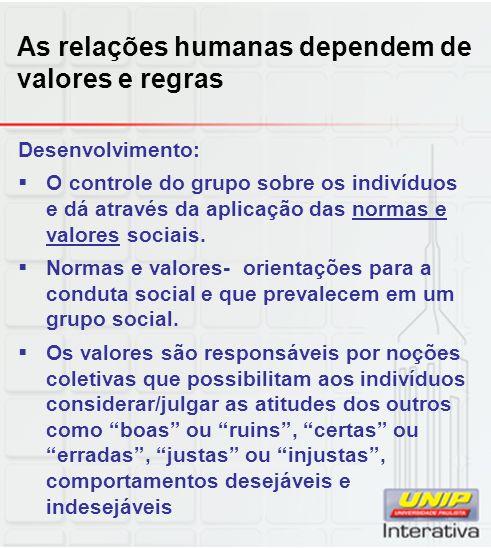 As relações humanas dependem de valores e regras