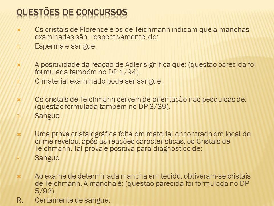 QUESTÕES DE CONCURSOSOs cristais de Florence e os de Teichmann indicam que a manchas examinadas são, respectivamente, de: