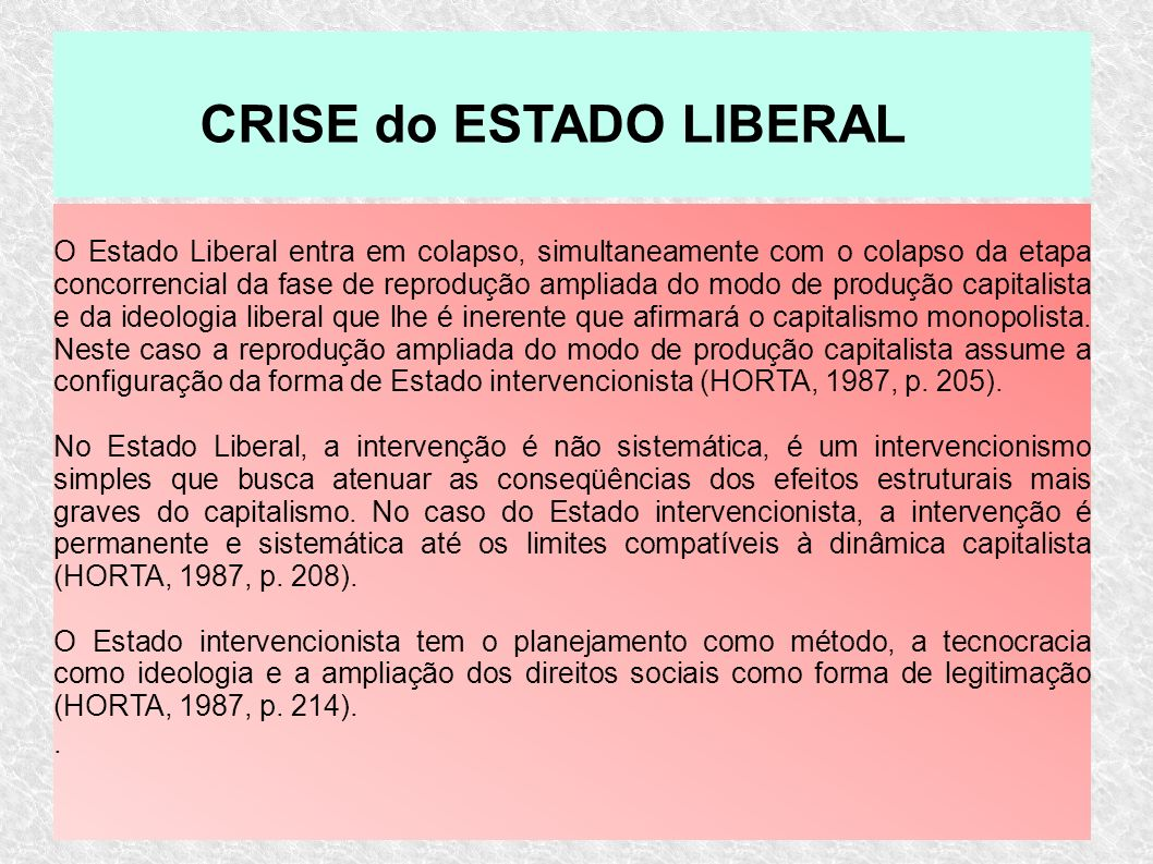 CRISE do ESTADO LIBERAL