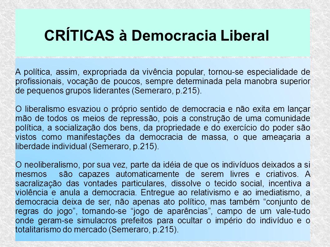 CRÍTICAS à Democracia Liberal