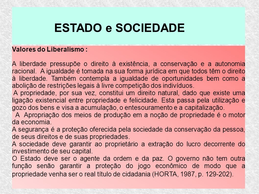 ESTADO e SOCIEDADE Valores do Liberalismo :