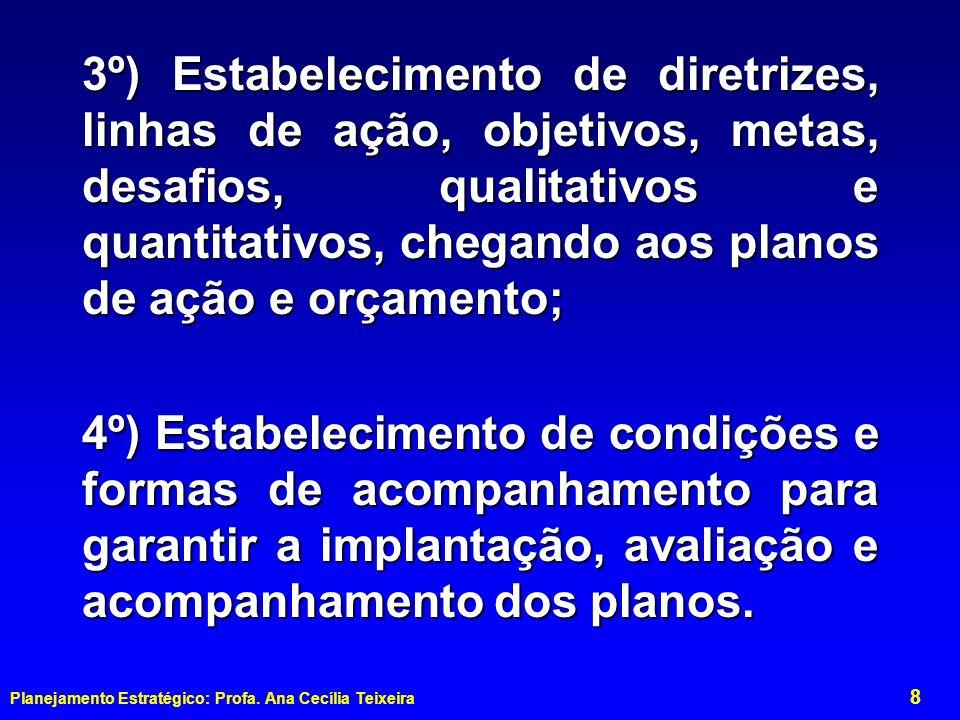3º) Estabelecimento de diretrizes, linhas de ação, objetivos, metas, desafios, qualitativos e quantitativos, chegando aos planos de ação e orçamento;