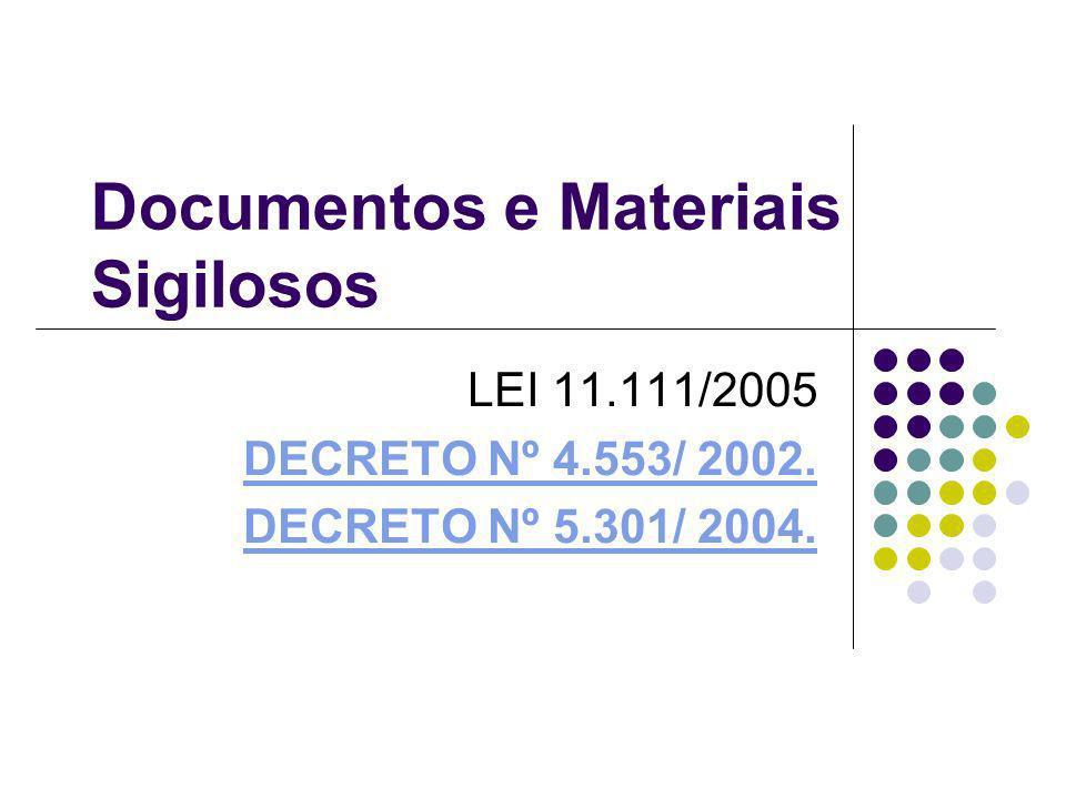 Documentos e Materiais Sigilosos
