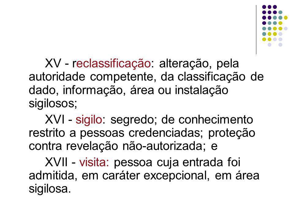XV - reclassificação: alteração, pela autoridade competente, da classificação de dado, informação, área ou instalação sigilosos;