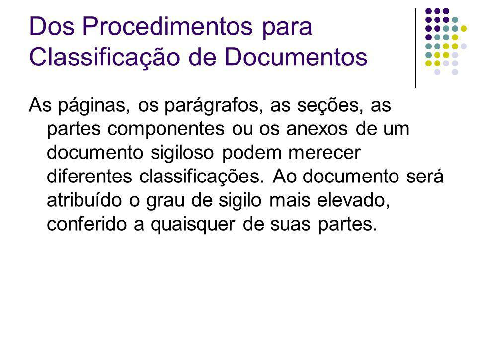 Dos Procedimentos para Classificação de Documentos