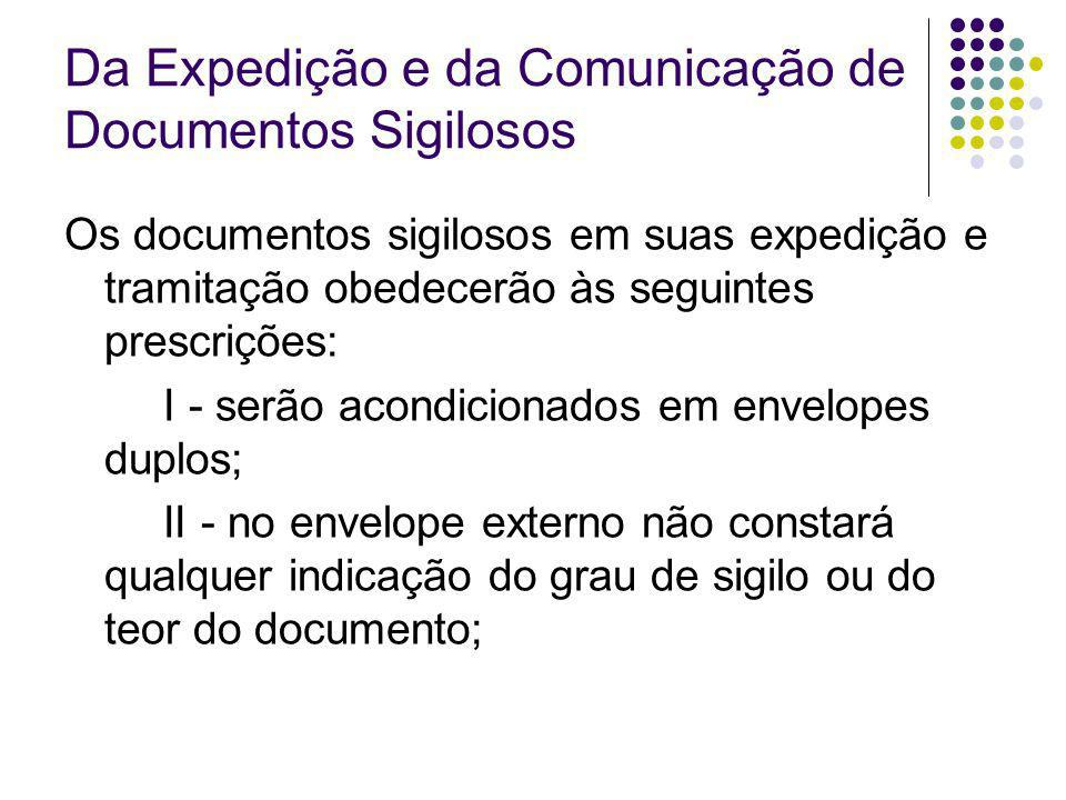 Da Expedição e da Comunicação de Documentos Sigilosos