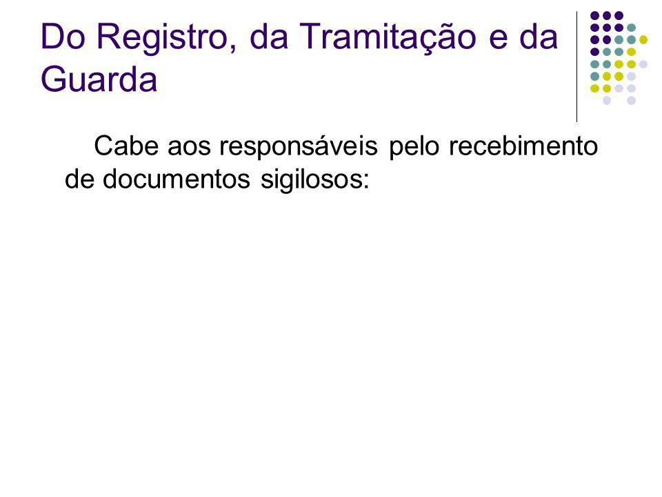Do Registro, da Tramitação e da Guarda