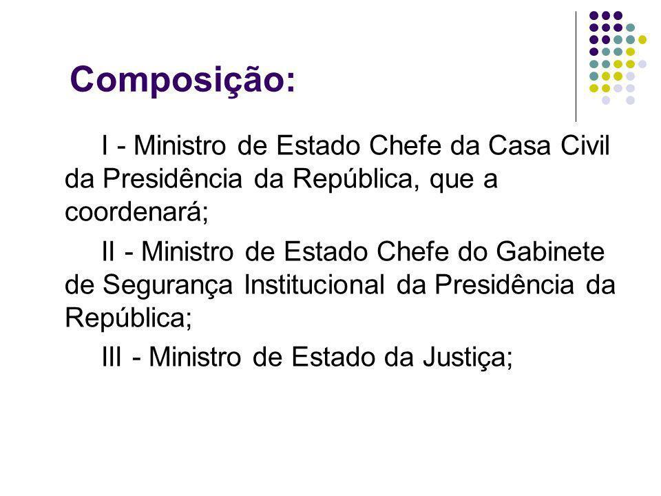 Composição: I - Ministro de Estado Chefe da Casa Civil da Presidência da República, que a coordenará;