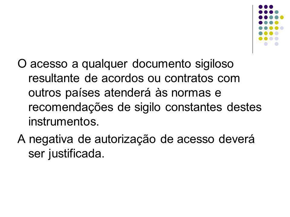 O acesso a qualquer documento sigiloso resultante de acordos ou contratos com outros países atenderá às normas e recomendações de sigilo constantes destes instrumentos.