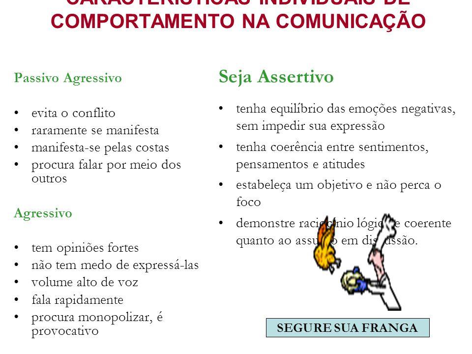 CARACTERÍSTICAS INDIVIDUAIS DE COMPORTAMENTO NA COMUNICAÇÃO