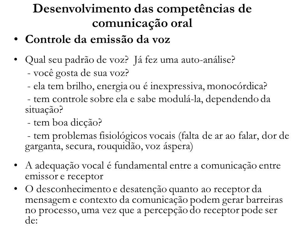 Desenvolvimento das competências de comunicação oral