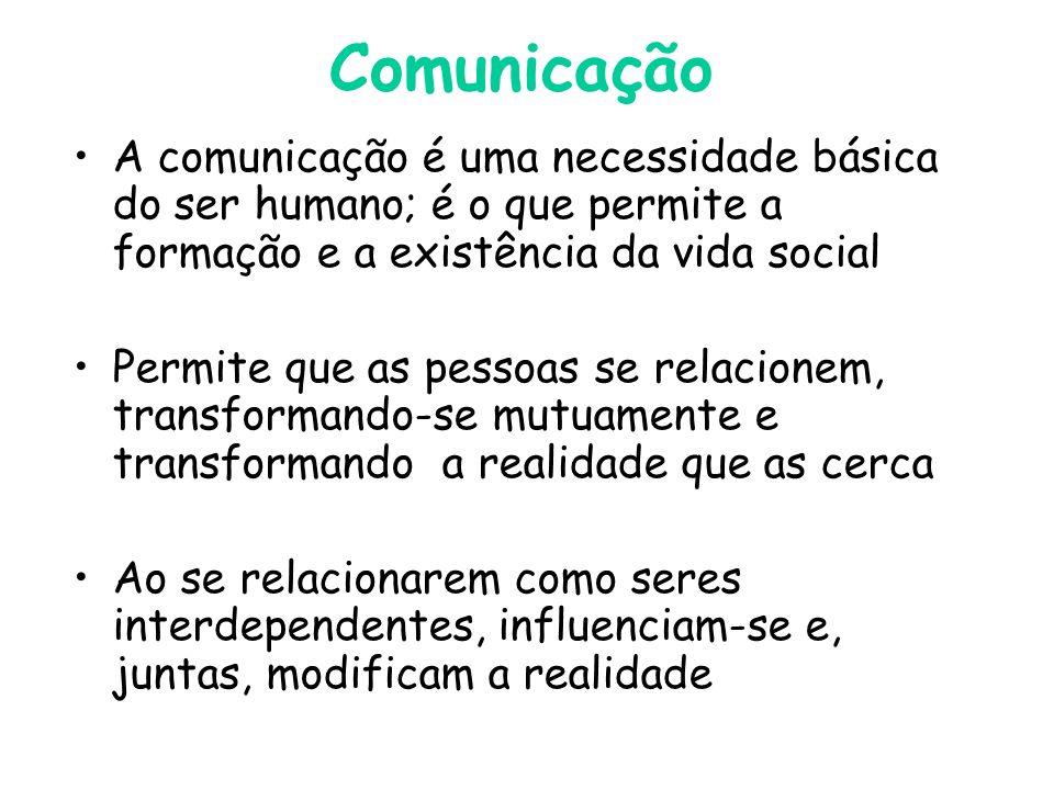 Comunicação A comunicação é uma necessidade básica do ser humano; é o que permite a formação e a existência da vida social.