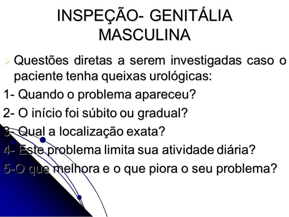 INSPEÇÃO- GENITÁLIA MASCULINA