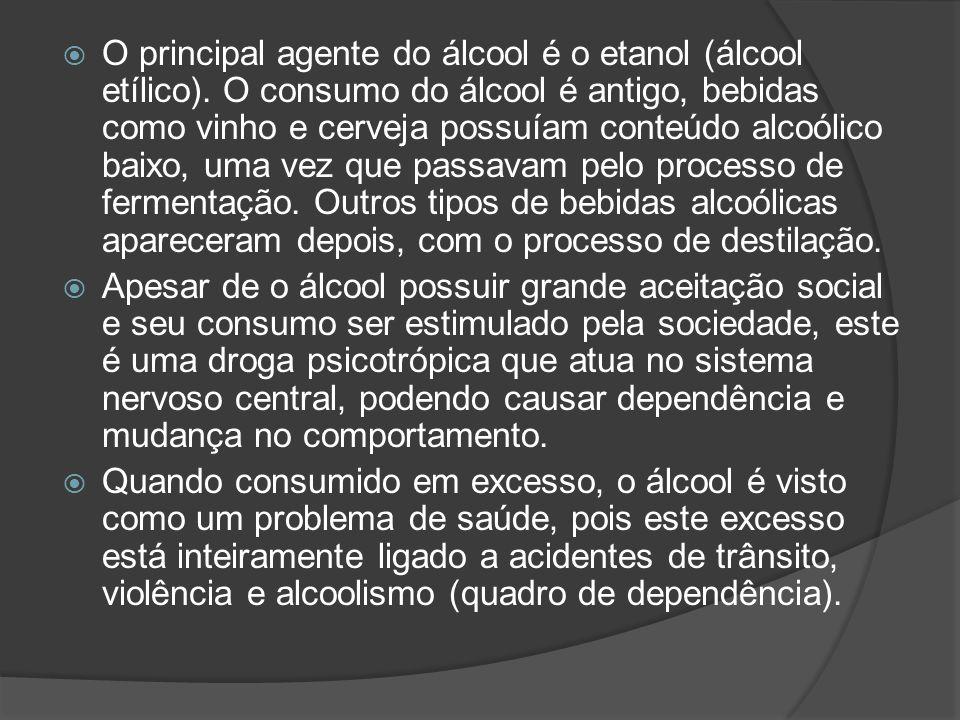 O principal agente do álcool é o etanol (álcool etílico)