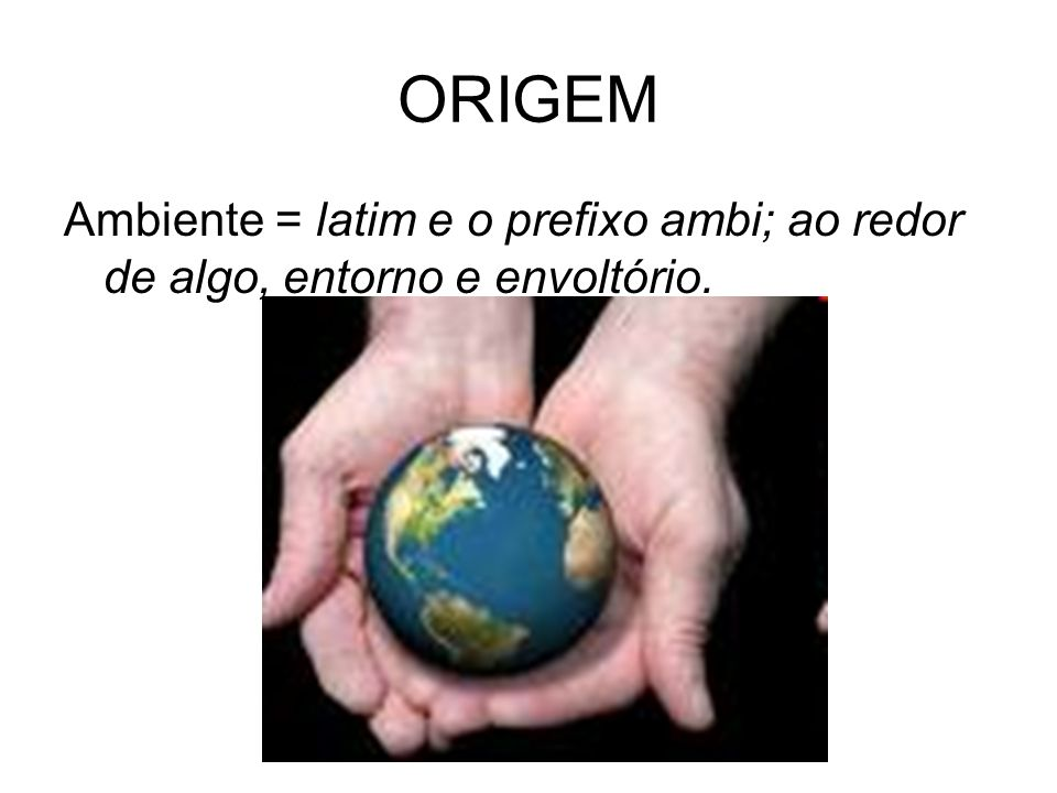 ORIGEM Ambiente = latim e o prefixo ambi; ao redor de algo, entorno e envoltório.