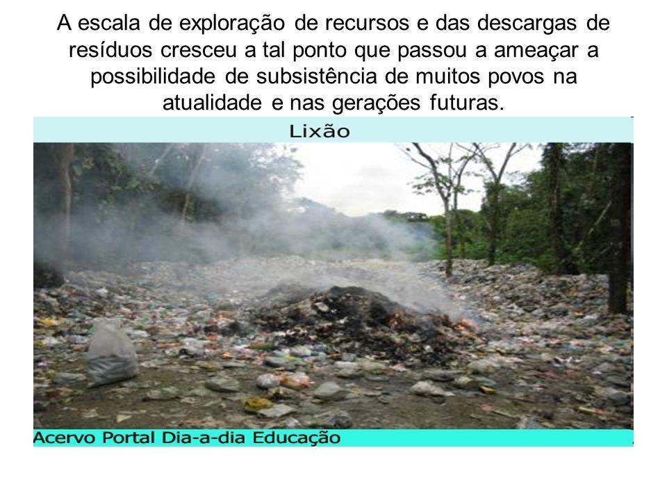 A escala de exploração de recursos e das descargas de resíduos cresceu a tal ponto que passou a ameaçar a possibilidade de subsistência de muitos povos na atualidade e nas gerações futuras.