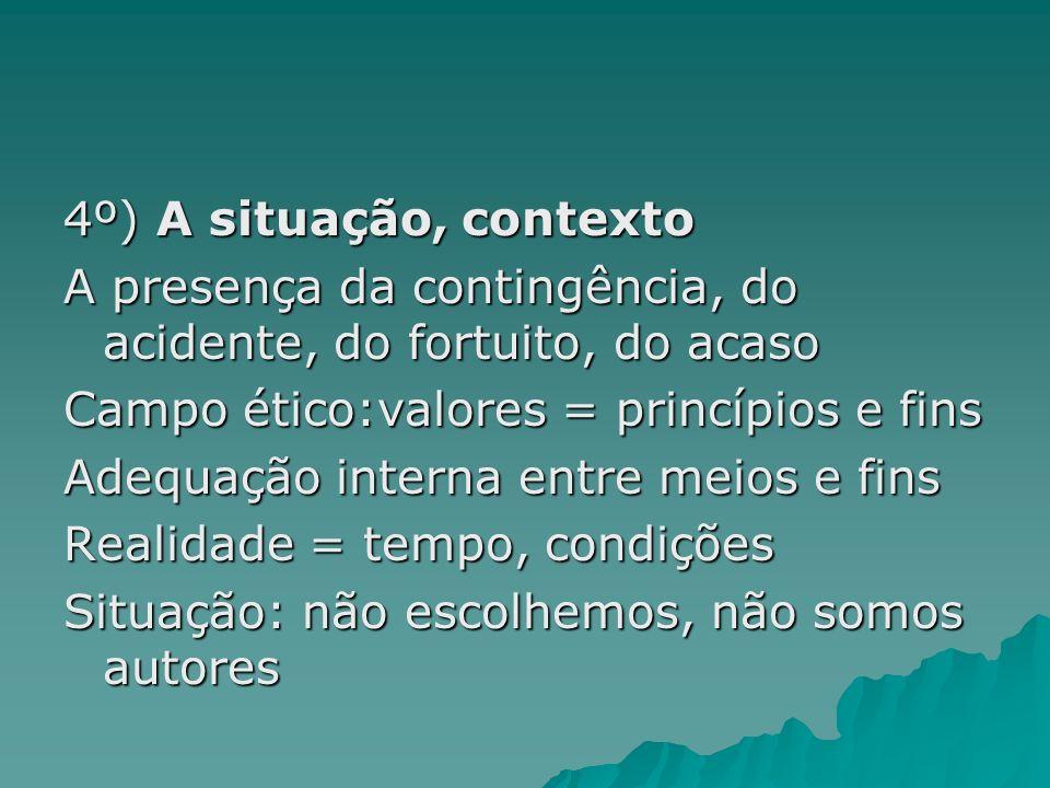 4º) A situação, contextoA presença da contingência, do acidente, do fortuito, do acaso. Campo ético:valores = princípios e fins.
