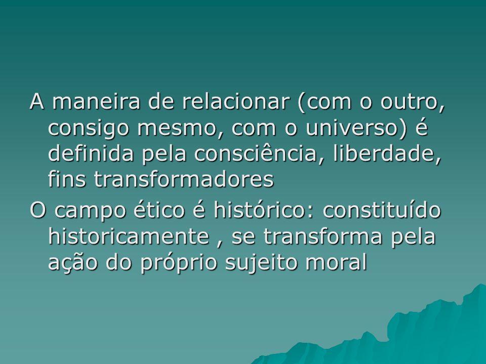 A maneira de relacionar (com o outro, consigo mesmo, com o universo) é definida pela consciência, liberdade, fins transformadores