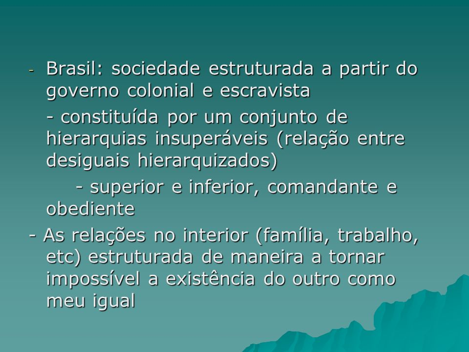 Brasil: sociedade estruturada a partir do governo colonial e escravista