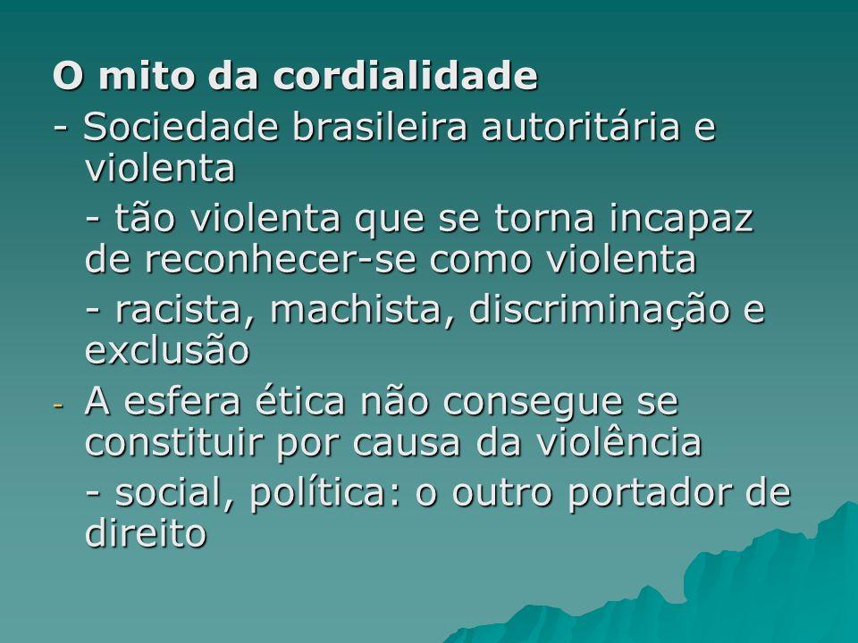 O mito da cordialidade- Sociedade brasileira autoritária e violenta. - tão violenta que se torna incapaz de reconhecer-se como violenta.