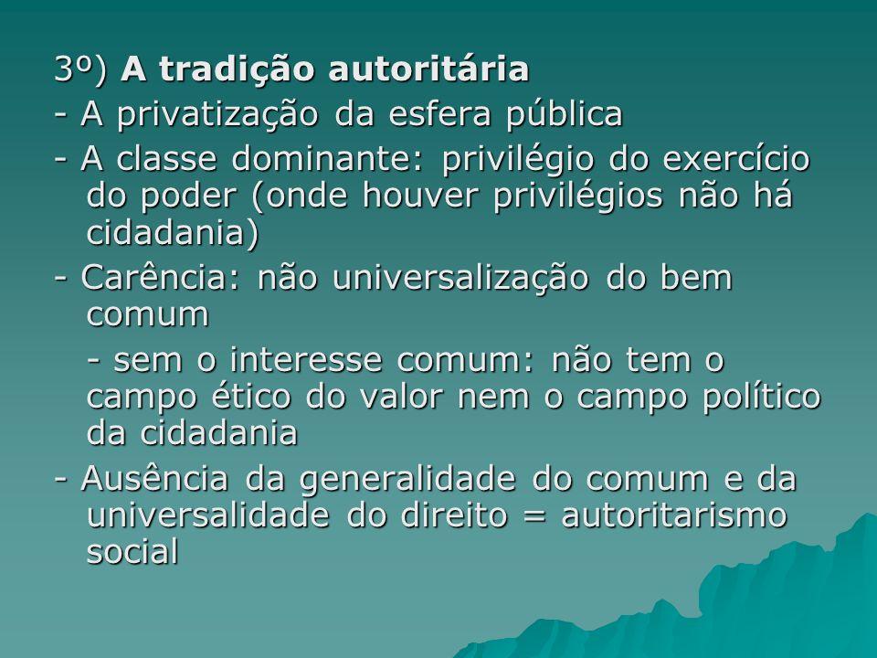 3º) A tradição autoritária