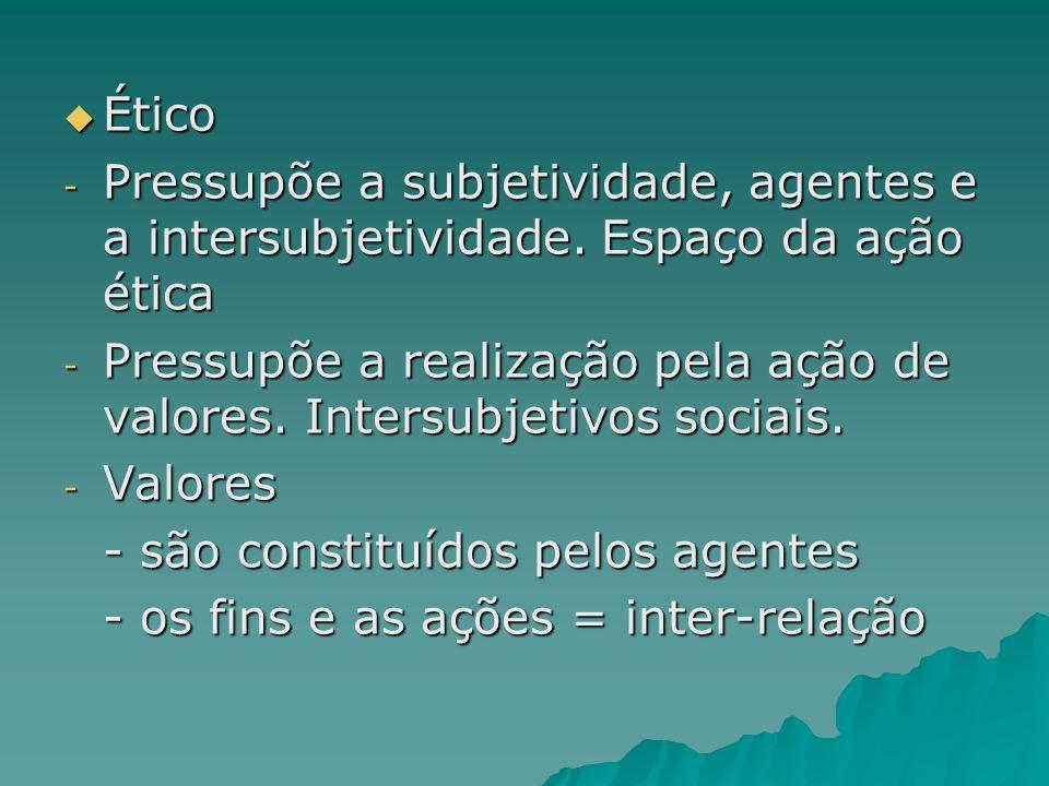 ÉticoPressupõe a subjetividade, agentes e a intersubjetividade. Espaço da ação ética.