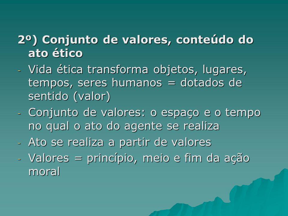 2º) Conjunto de valores, conteúdo do ato ético