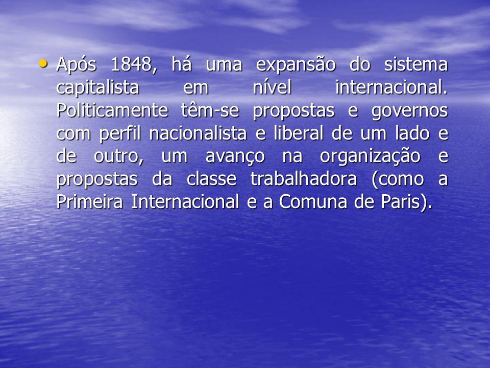 Após 1848, há uma expansão do sistema capitalista em nível internacional.