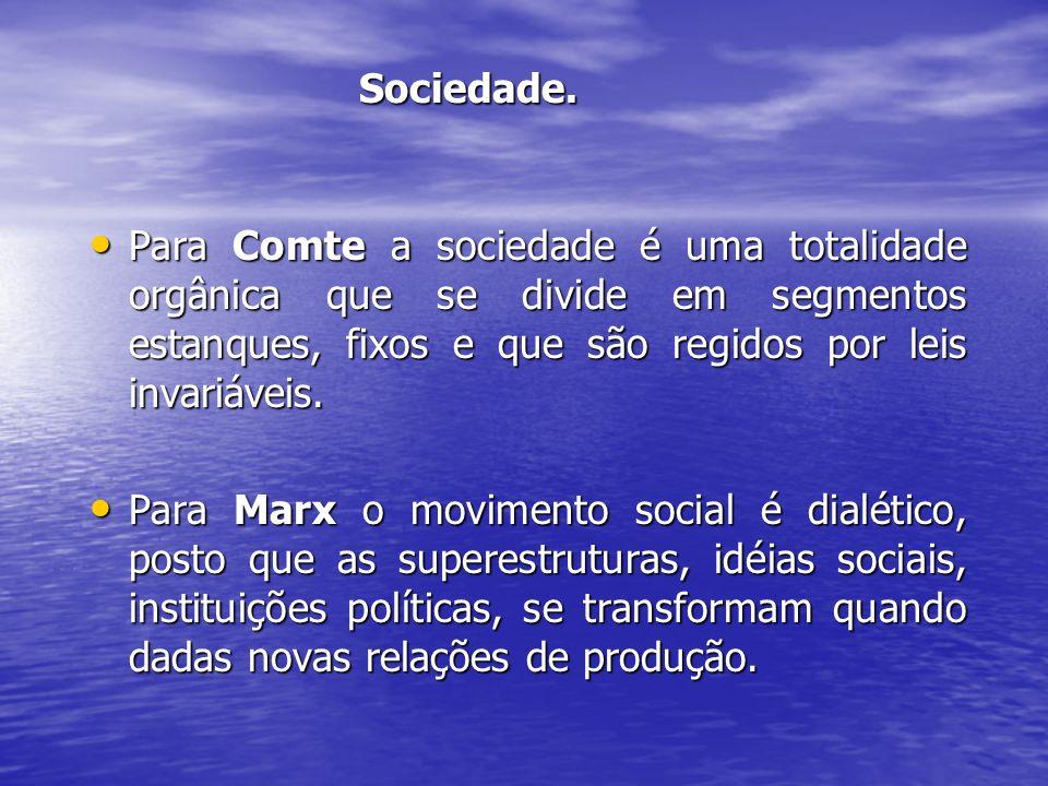 Sociedade. Para Comte a sociedade é uma totalidade orgânica que se divide em segmentos estanques, fixos e que são regidos por leis invariáveis.