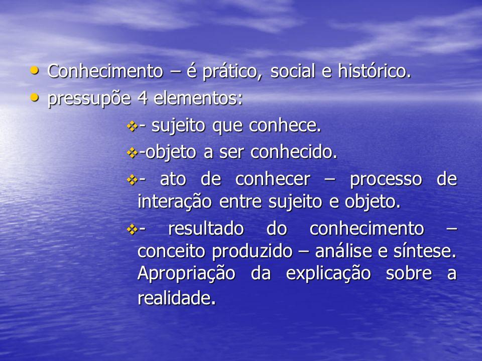 Conhecimento – é prático, social e histórico.
