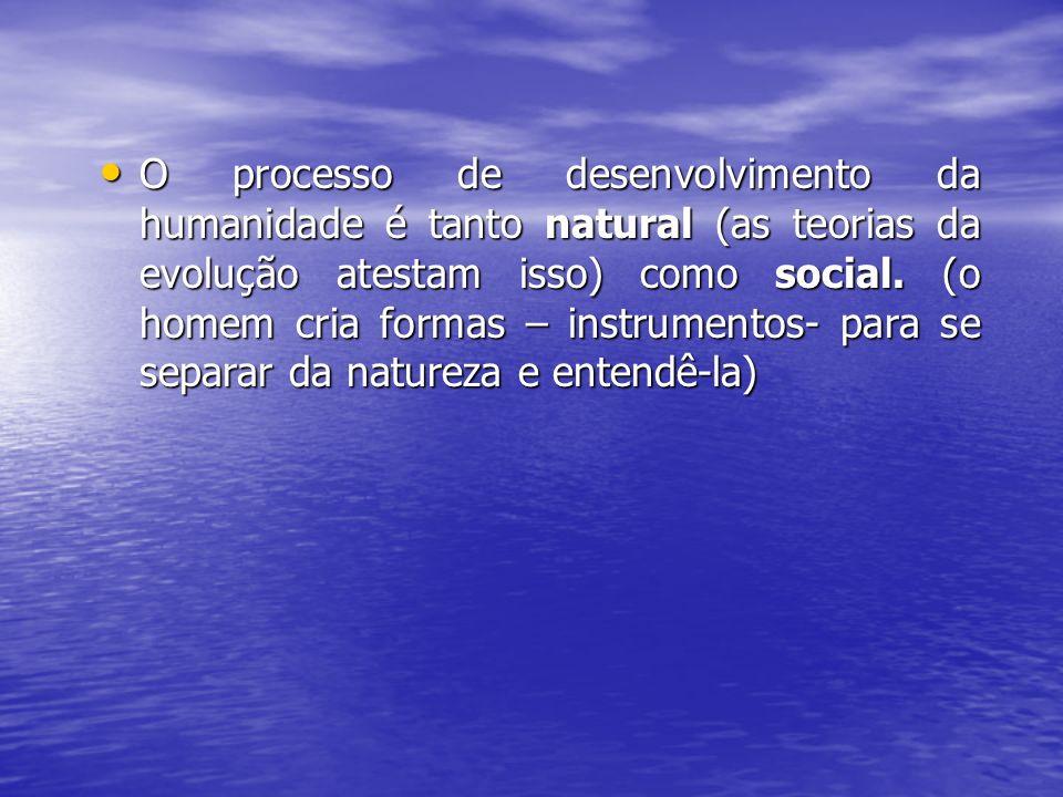 O processo de desenvolvimento da humanidade é tanto natural (as teorias da evolução atestam isso) como social.