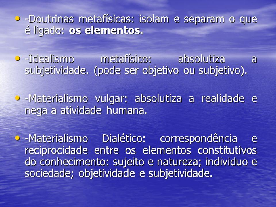 -Doutrinas metafísicas: isolam e separam o que é ligado: os elementos.
