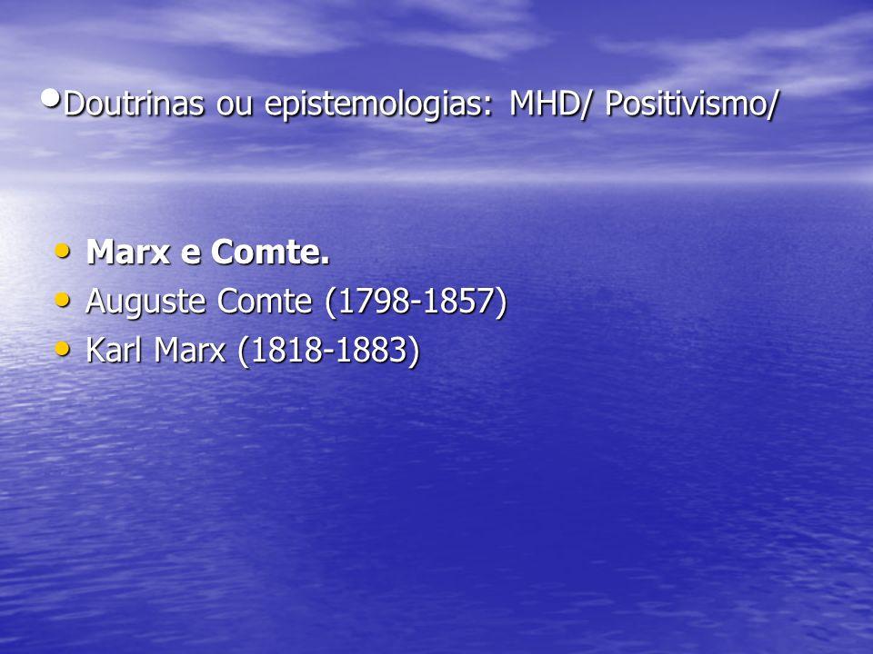 •Doutrinas ou epistemologias: MHD/ Positivismo/