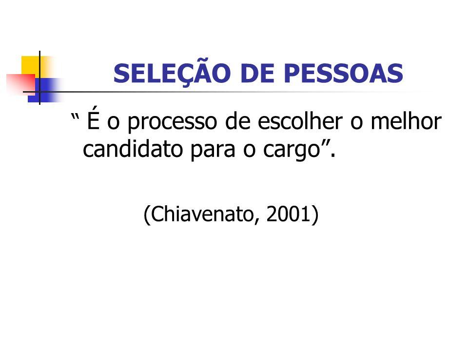 SELEÇÃO DE PESSOAS É o processo de escolher o melhor candidato para o cargo . (Chiavenato, 2001)