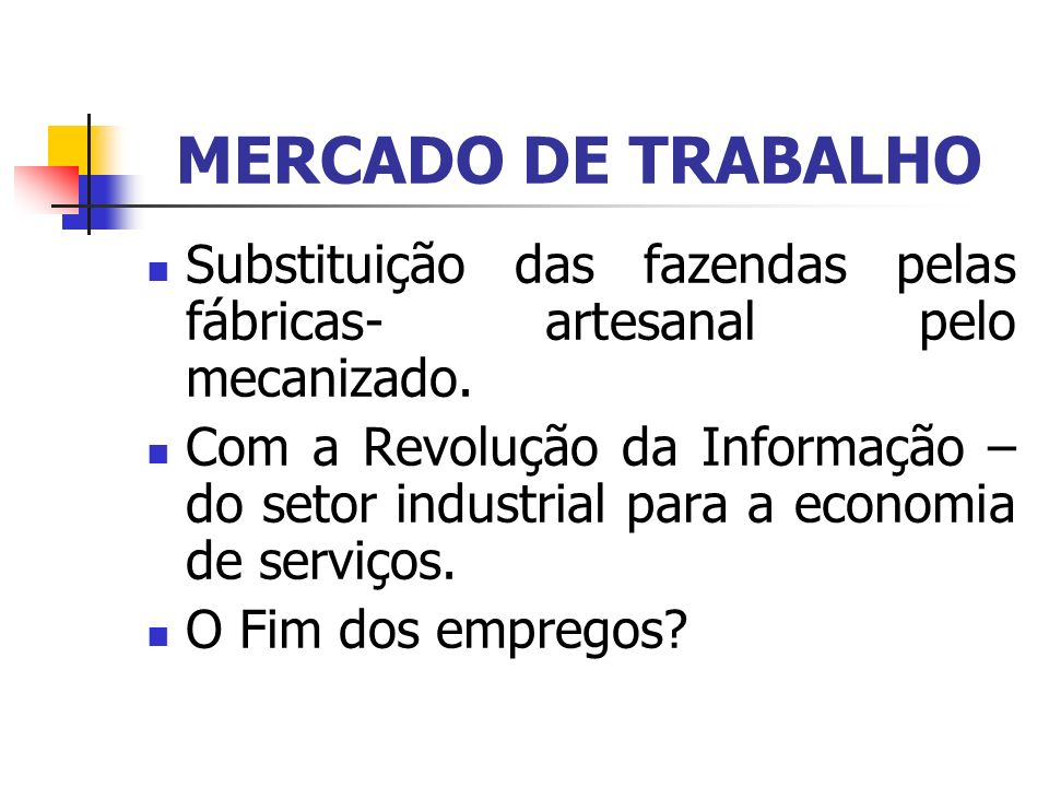 MERCADO DE TRABALHO Substituição das fazendas pelas fábricas- artesanal pelo mecanizado.