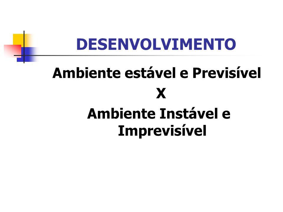 Ambiente estável e Previsível Ambiente Instável e Imprevisível
