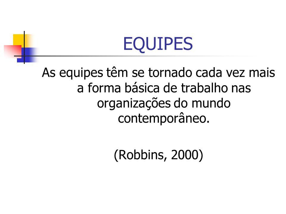 EQUIPES As equipes têm se tornado cada vez mais a forma básica de trabalho nas organizações do mundo contemporâneo.