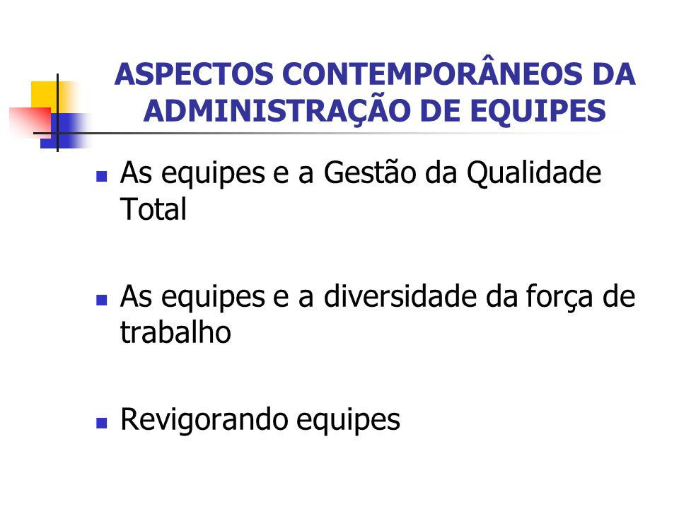 ASPECTOS CONTEMPORÂNEOS DA ADMINISTRAÇÃO DE EQUIPES