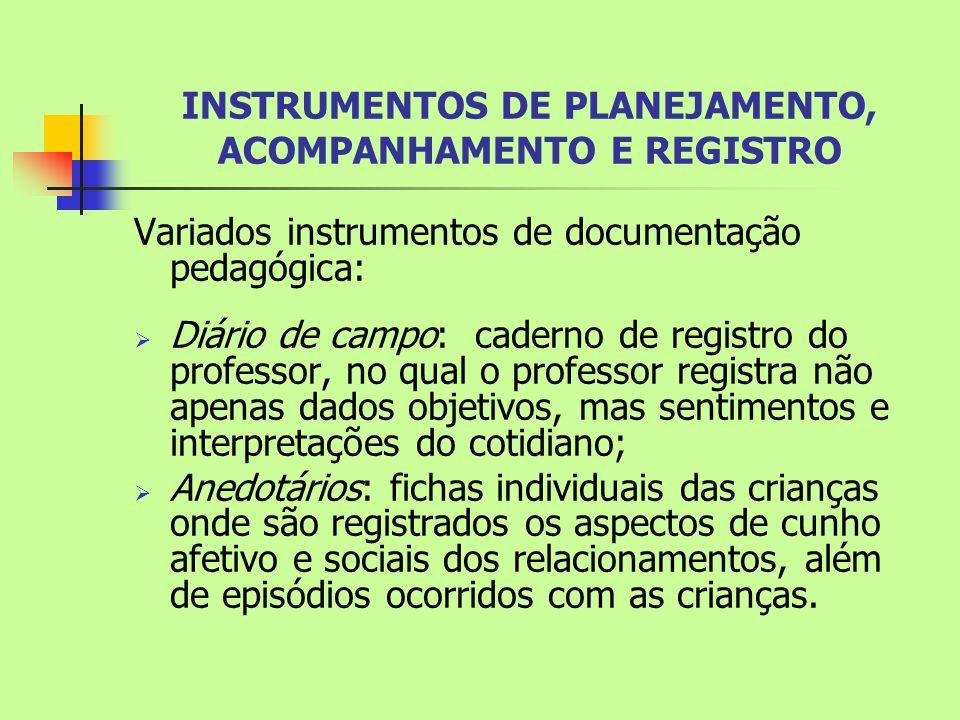 INSTRUMENTOS DE PLANEJAMENTO, ACOMPANHAMENTO E REGISTRO