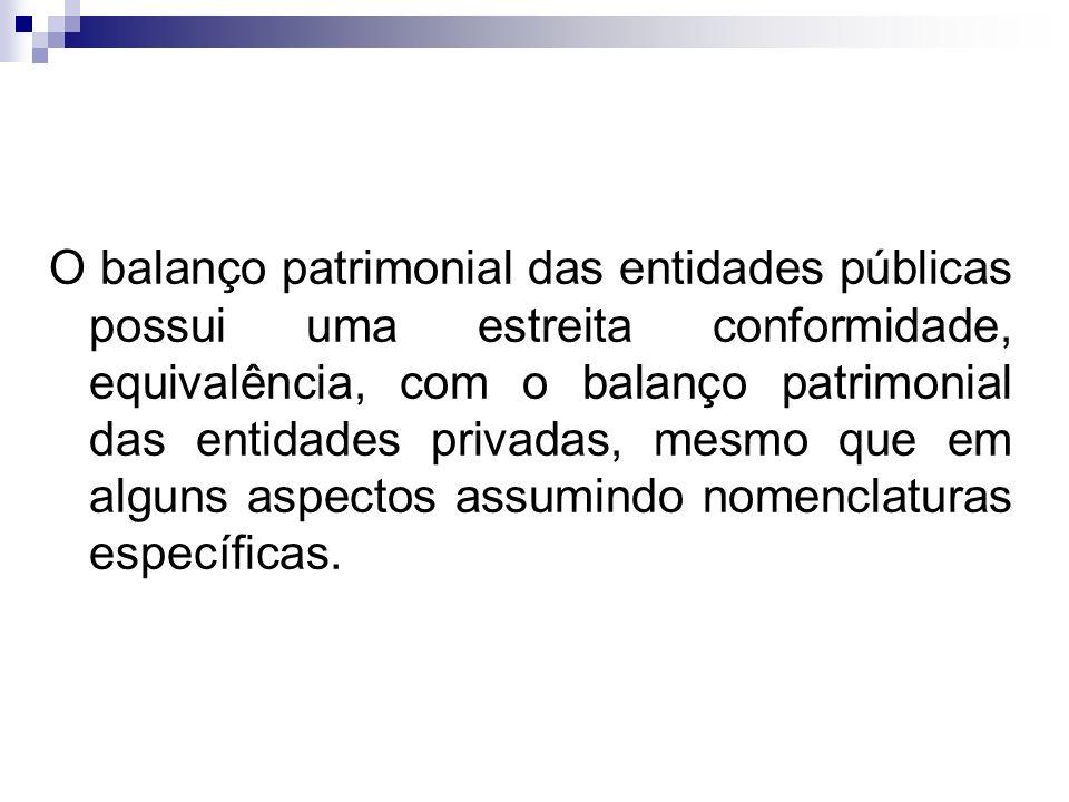 O balanço patrimonial das entidades públicas possui uma estreita conformidade, equivalência, com o balanço patrimonial das entidades privadas, mesmo que em alguns aspectos assumindo nomenclaturas específicas.