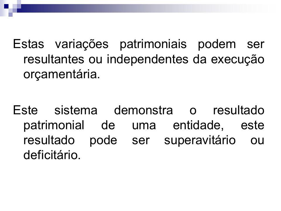 Estas variações patrimoniais podem ser resultantes ou independentes da execução orçamentária.