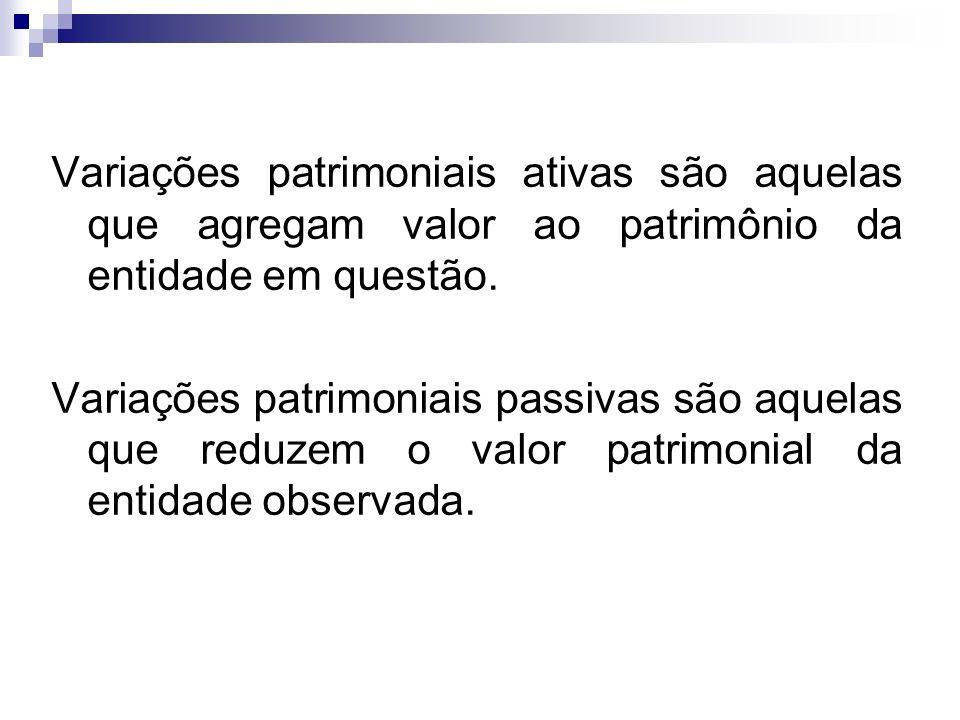 Variações patrimoniais ativas são aquelas que agregam valor ao patrimônio da entidade em questão.