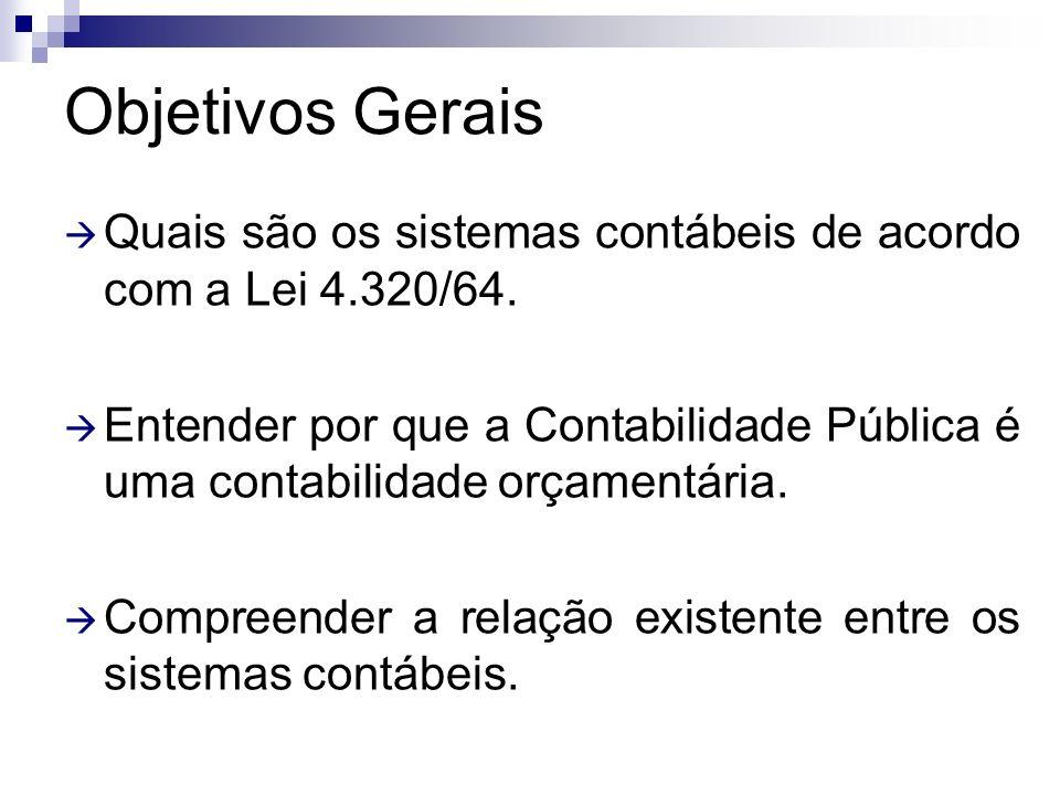 Objetivos Gerais Quais são os sistemas contábeis de acordo com a Lei 4.320/64.