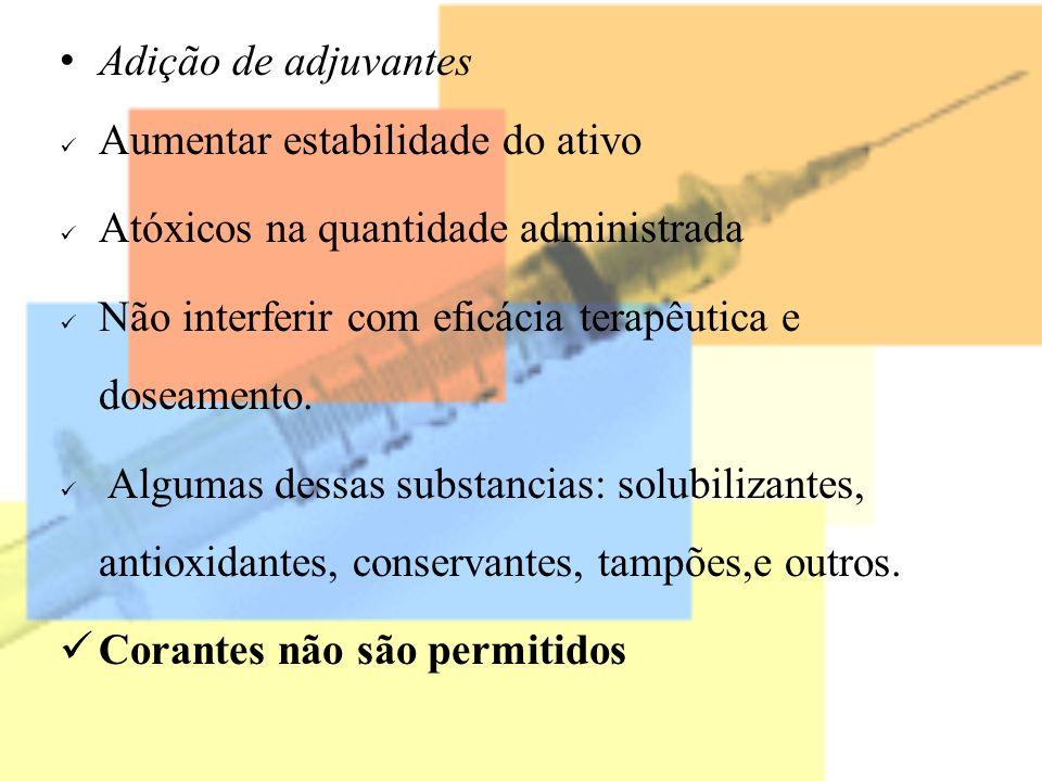 Adição de adjuvantes Aumentar estabilidade do ativo. Atóxicos na quantidade administrada. Não interferir com eficácia terapêutica e doseamento.
