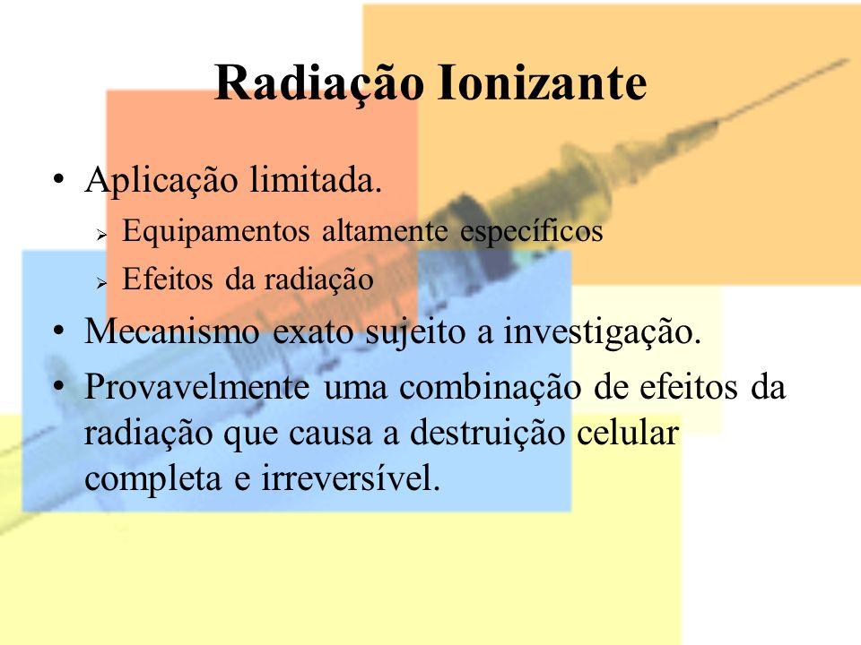 Radiação Ionizante Aplicação limitada.